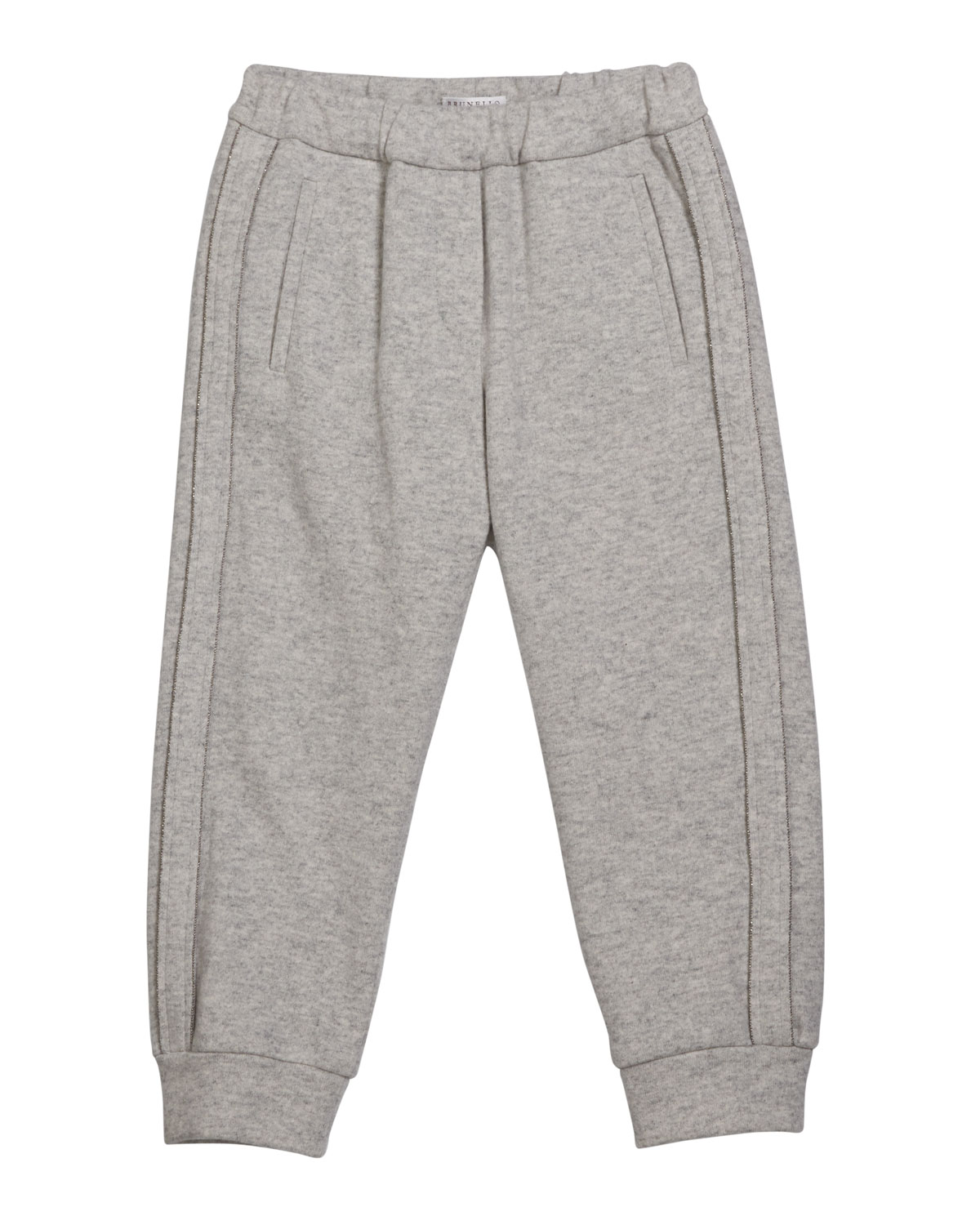 Brunello Cucinelli Cashmeres GIRL'S CASHMERE JOGGER PANTS WITH MONILI PIPING