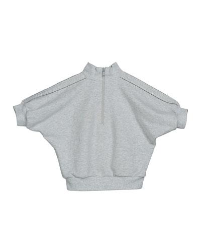 Girl's Zip-Front Jersey Turtleneck Top w/ Monili Trim, Size 6
