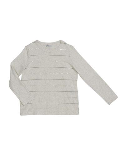 Girl's Sequin & Monili Striped Crewneck Long-Sleeve T-Shirt, Size 8-10