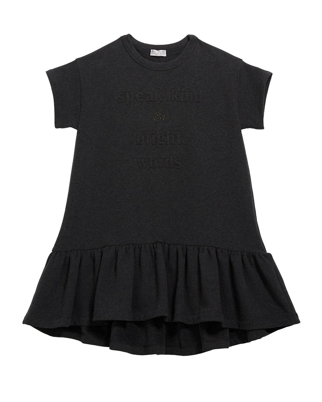 Brunello Cucinelli GIRL'S RUFFLE-HEM JERSEY DRESS W/ MONILI & WORDING