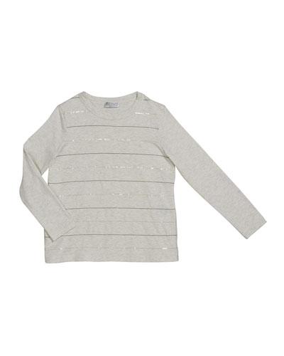 Girl's Paillette & Monili Striped Crewneck Long-Sleeve T-Shirt, Size 4-6