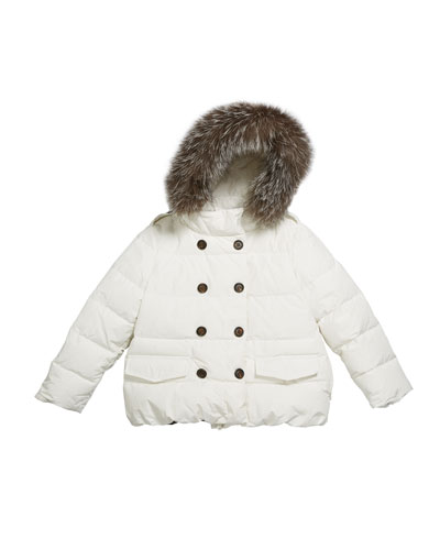 Girl's Quilted Coat w/ Fur Trim Hood, Size 8-10