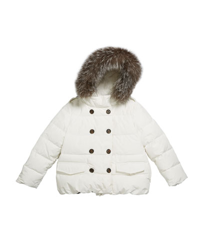 Girl's Quilted Coat w/ Fur Trim Hood, Size 6