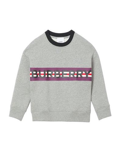 Boy's Marlon Logo Stripe Sweatshirt, Size 3-14