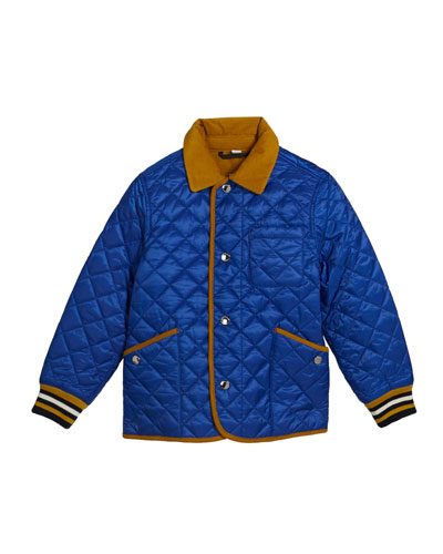 Boy's Cluford Quilted Jacket w/ Corduroy Trim, Size 3-14