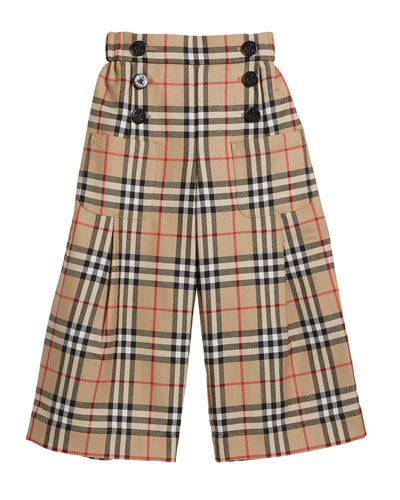 Girl's Taren Check Wide Legs Sailor Pants, Size 3-14