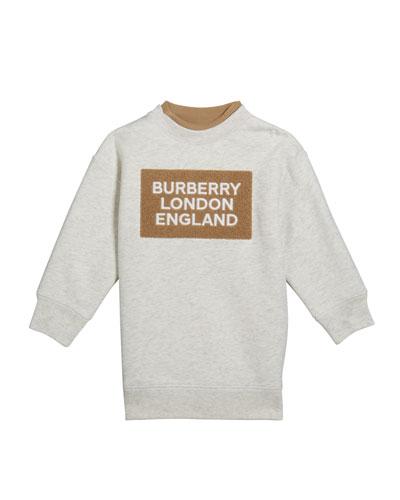 Girl's Fabbio Sweatshirt w/ Logo Patches, Size 3-14