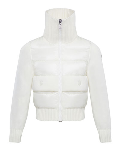 Girl's Knit Puff Front Turtleneck Jacket, Size 8-14