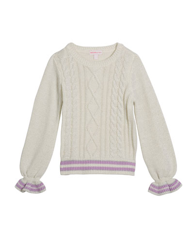 Girl's Lurex Cable Knit Sweater, Size 2-6X