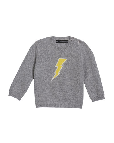 Lightning Bolt Intarsia Cashmere Sweater, Size 3-24 Months