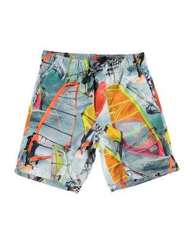 Boy's Nario Wind Surfer Swim Shorts, Size 3T-12