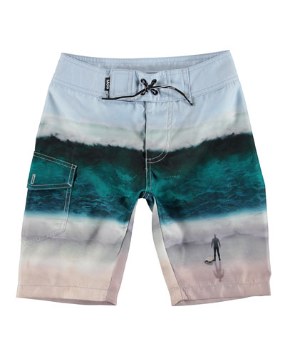 Boy's Nalvaro Wave Print Board Shorts, Size 3T-12