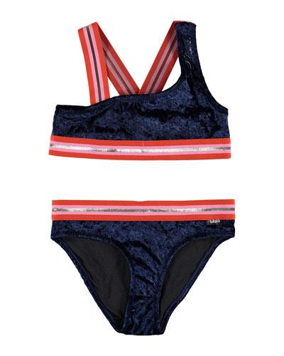Girl's Nicola Velvet Two-Piece Bikini w/ Sports Ribbing, Size 3T-16