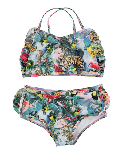 Girl's Nanda Jungle Print Crop Top Two-Piece Bikini, Size 2T-12