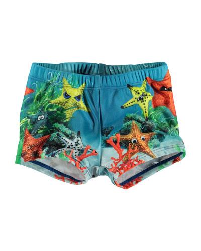 Boy's Nansen Starfish Print Swim Shorts, Size Newborn-3T