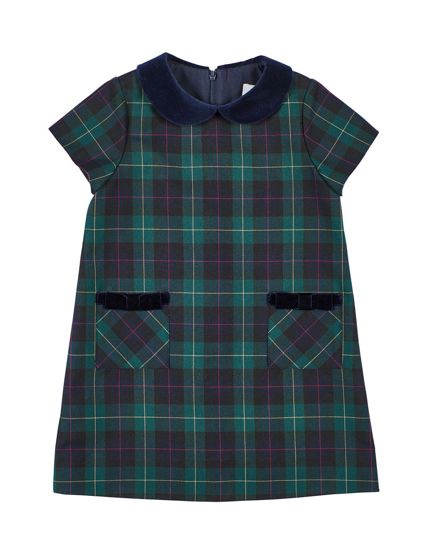 Florence Eiseman Dresses GIRL'S PLAID VELVET TRIM DRESS