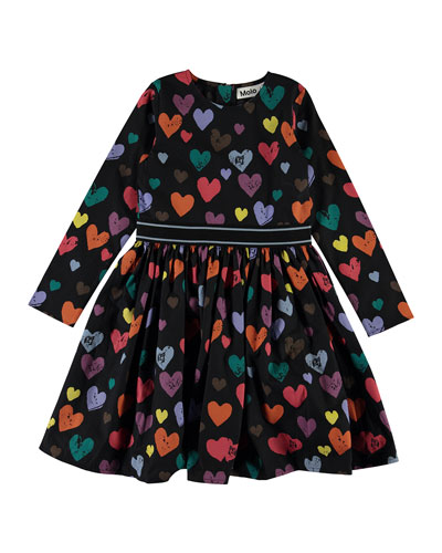 Girl's Christin Long-Sleeve Heart Print Dress, Size 3T-14
