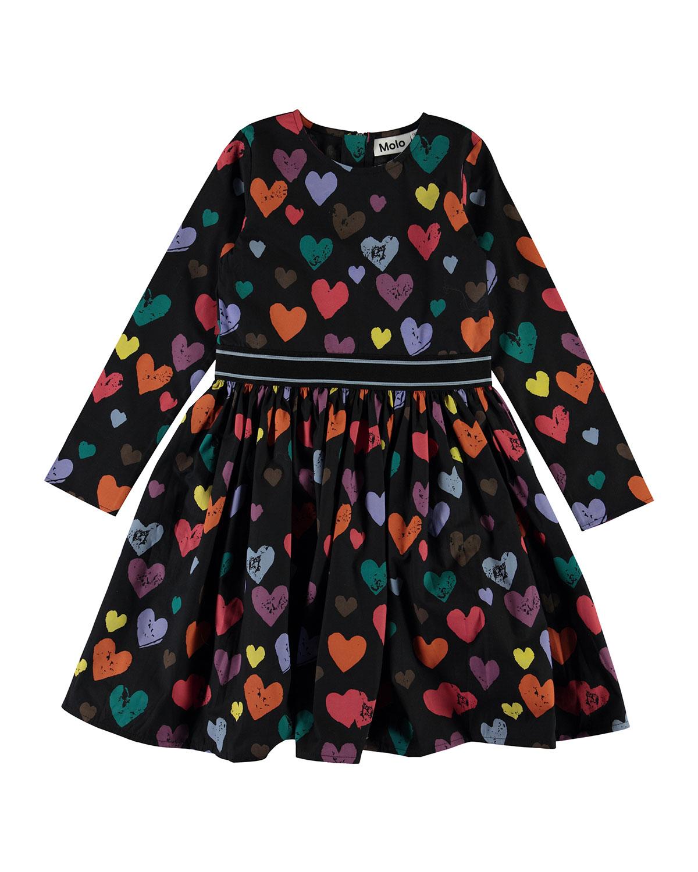 Molo GIRL'S CHRISTIN LONG-SLEEVE HEART PRINT DRESS