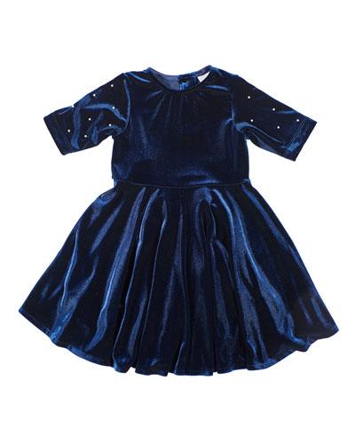 Girl's Stretch Velvet Dress w/ Pearly Beaded Sleeves, Size 4-6X