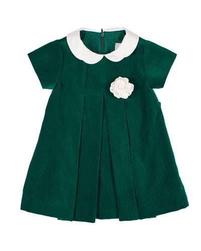Girl's Twill Velvet Dress w/ Rosette, Size 3-24 Months