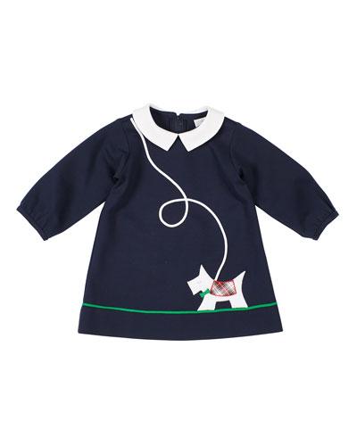 Girl's Scottie Applique Long-Sleeve Dress, Size 2-5