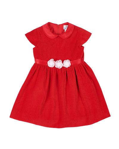 Girl's Velvet Peter Pan Collar Dress w/ Tulle Flower Belt, Size 3-24 Months