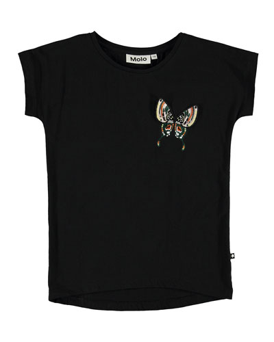 Girl's Ragnhilde Short-Sleeve Tee w/ Butterfly Detail, Size 3-12