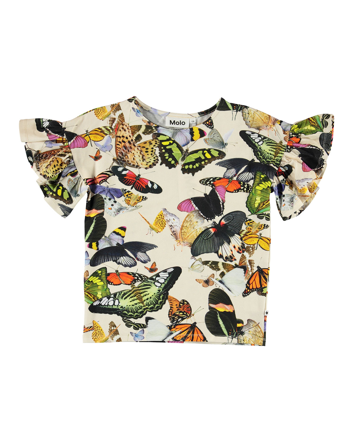 Molo GIRL'S RAYAH FRILL SLEEVE BUTTERFLY PRINT TEE