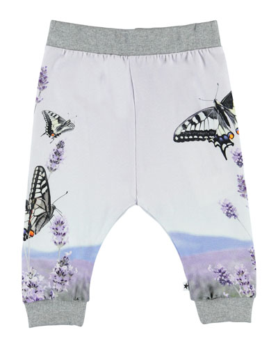 Girl's Susanne Butterfly Print Jogger Pants, Size 6-24 Months