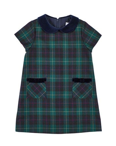 Girl's Plaid Velvet Trim Dress, Size 4-6X