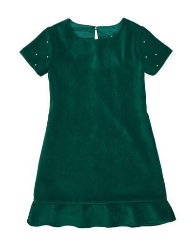 Girl's Twill Velvet Drop Hem Dress w/ Pearly Beaded Sleeves, Size 7-14