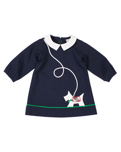 Girl's Scottie Applique Long-Sleeve Dress, Size 12-24 Months
