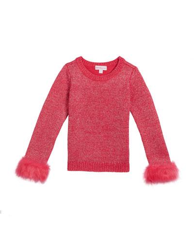 Girl's Metallic Knit Sweater w/ Faux Fur Cuffs, Size 2-6X