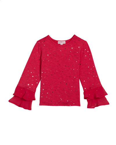 Girl's Long-Sleeve Sequin Top, Size 2-6X