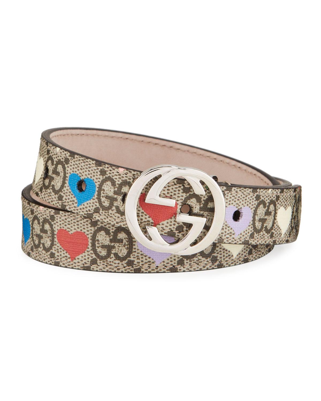 Gucci Belts KID'S GG SUPREME HEARTS PRINT BELT W/ INTERLOCKING G BUCKLE