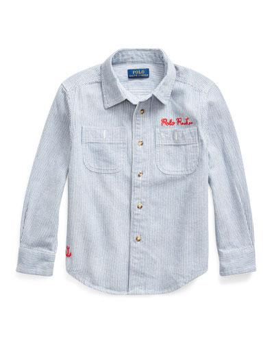 Boy's Stripe Ship Graphic Button-Down Shirt, Size 5-7