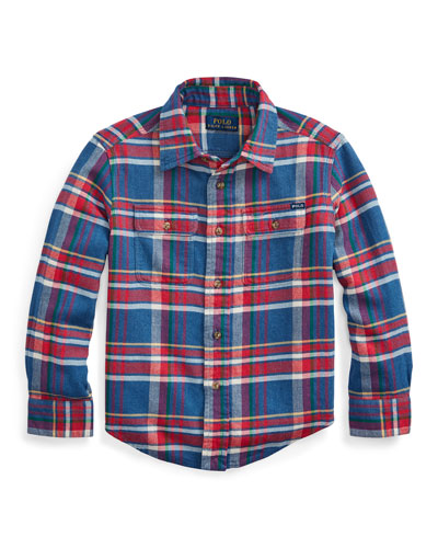 Boy's Plaid Button-Down Shirt, Size 5-7