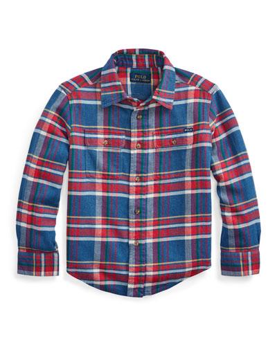 Boy's Plaid Button-Down Shirt, Size 2-4