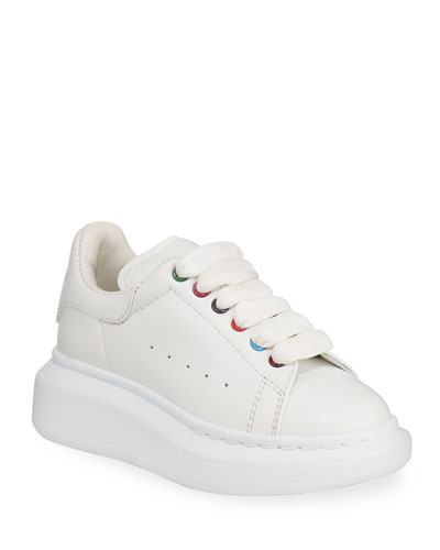 Leather Lace-Up Sneakers w/ Multicolored Grommets, Toddler/Kids