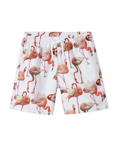 Boy's Flamingo Print Swim Trunks, Size 2-10