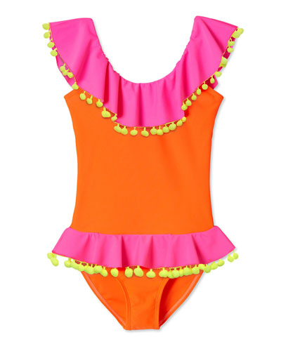 Girl's Neon Ruffle Pompom One-Piece Swimsuit, Size 2-14