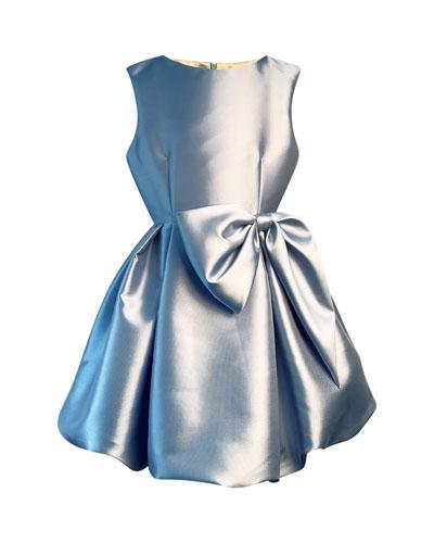 Girl's Satin Pleated Dress w/ Oversized Bow, Size 7-14