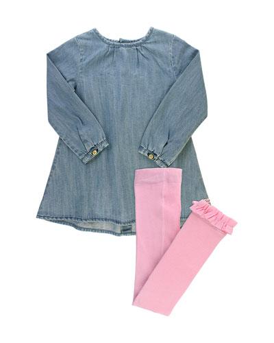 Girl's Denim Button Back Dress w/ Tights, Size 3M-8
