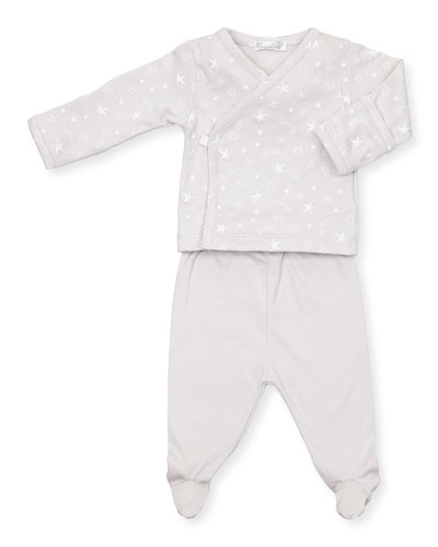 Starry Sky Long-Sleeve Top w/ Footed Pants, Size Newborn-6 Months