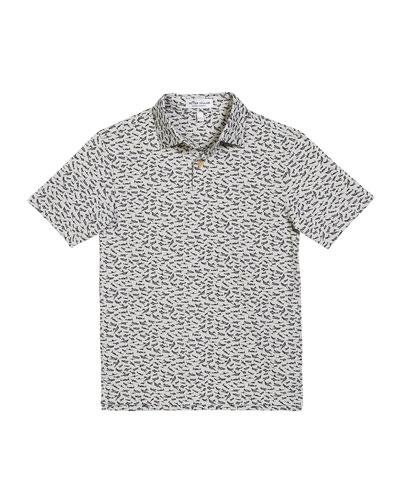 Boy's Bird Airplanes Print Polo Shirt, Size XXS-XL