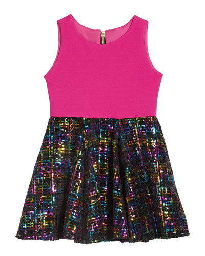 Girl's Stacey Rainbow Sequin Knit Bodice Dress, Size 4-6X