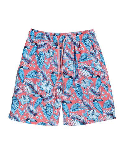 Boy's Tucanopy Tropical Print Swim Trunks, Size XXS-XL