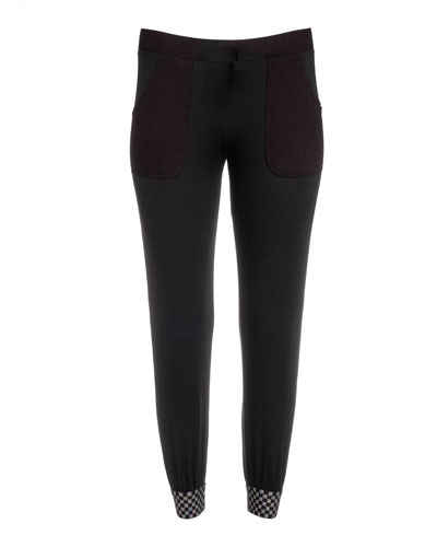 Girl's Waffle Jogger Pants w/ Contrast Cuffs, Size 7-16