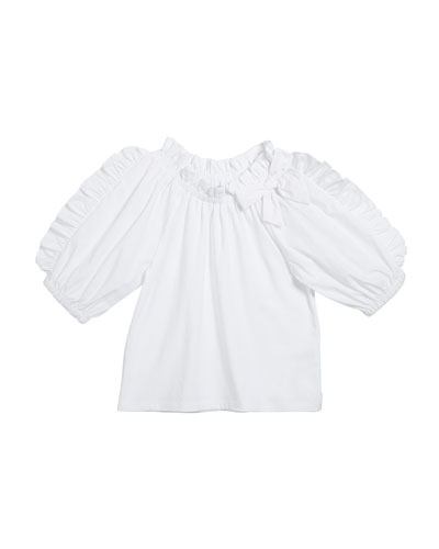 Girl's Ruffle-Sleeve Fit-And-Flare Top, Size 7-12