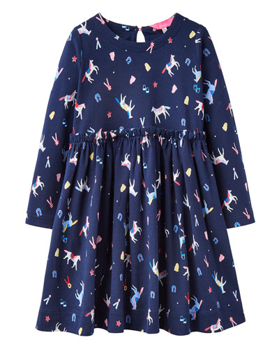 Girl's Hampton Horse Print Long-Sleeve Dress, Size 2-6